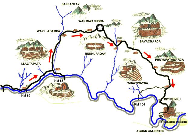Mapa de los Caminos del Inca Cusco Perú
