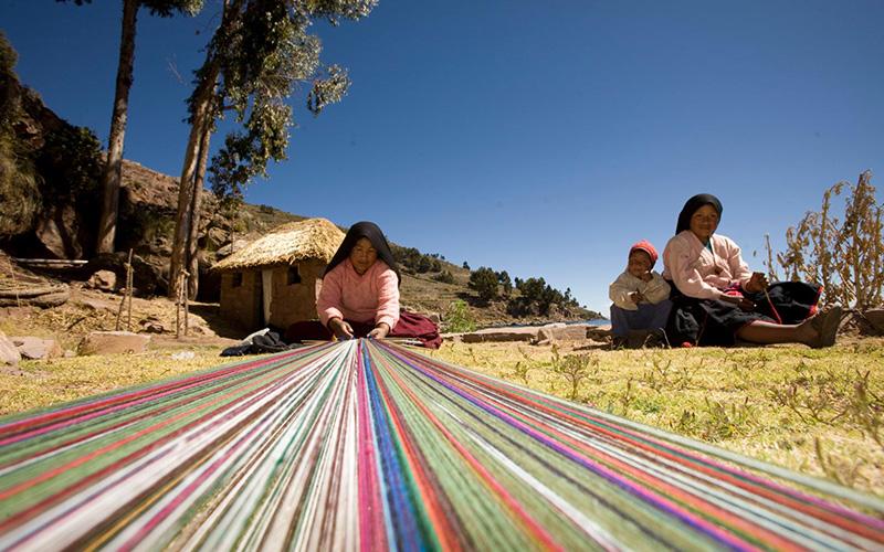 Taquile Island Telar de lana peruana